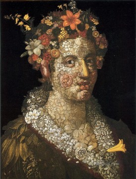 floral woman Giuseppe Arcimboldo classical flowers Oil Paintings